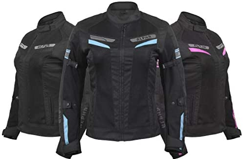 ALPHA CYCLE GEAR WOMEN S MOTORCYCLE JACKET WOMEN RIDING MOTORBIKE CE ARMOURED ESCAPE BLACK SKY product image
