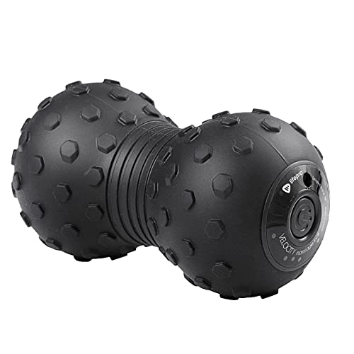 LifePro 4-Speed Vibrating Massage Ball - Peanut Massager Combines a Lacrosse Ball with Vibrating Foam Roller   Vibration Roller for Recovery, Mobility & Deep Tissue Trigger Point Therapy (Black)