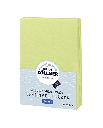 Julius Zöllner 8330013340 Jersey Spannbetttuch für Wiegen 90x40 und Stubenwagen, Farbe: grün