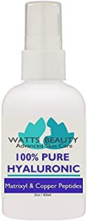 Watts Beauty 100% Pure Hyaluronic Acid Serum with Matrixyl + Copper Peptides - Anti Aging Firming Serum for Face - No Alcohol, No Parabens, Vegan - For Wrinkles, Fine Lines, Aging, Dry, Oily Skin 2oz