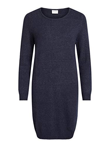 Vila Damen Viril L/S Knit Dress - Noos Kleid, Total Eclipse, M EU