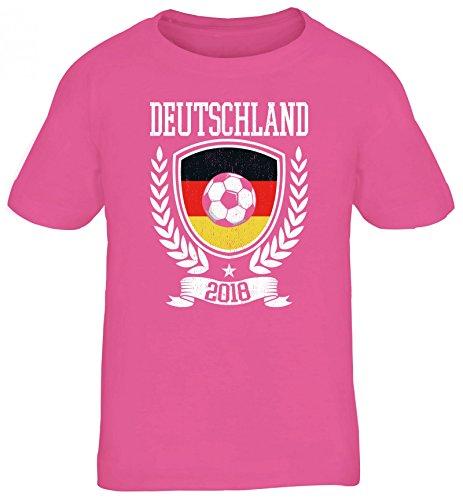 Germany Fußball WM Fanfest Gruppen Fan Kinder T-Shirt Rundhals Mädchen Jungen Pokal Deutschland 2018, Größe: 122/128,pink