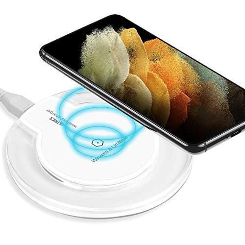 ULTRICS Cargador Inalámbrico, Qi Habilitado Wireless Charger, Universal Estándar Cargador Movil Compatible con iPhone 12/11 Pro/XS MAX/ 8, Samsung Galaxy S21/S20/ S10/ S9/ S8 Plus, Note 10 – Blanco