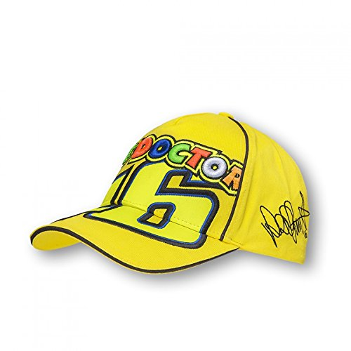 """Offizielle Kappe mit aufgedrucktem Valentino-Rossi-Autogramm, """"The Doctor"""" VR46gelb"""