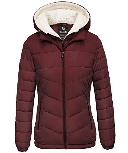 Wantdo Women's Windproof Hooded Puffer Jacket Windbreaker Wine Red Medium