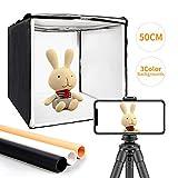 MOUNTDOG Photo Light Box 20'/50cm Portable Photo Studio Table Top Photography Lighting Kit with 3 Colors Backdrops and Carry Bag for Photography
