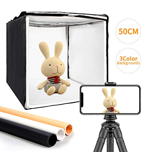 MOUNTDOG Photo Light Box 20'/50cm Portable Photo Studio Table Top Photography Lighting Kit with 3 Colors Backdrops and Carry Bag for Photography