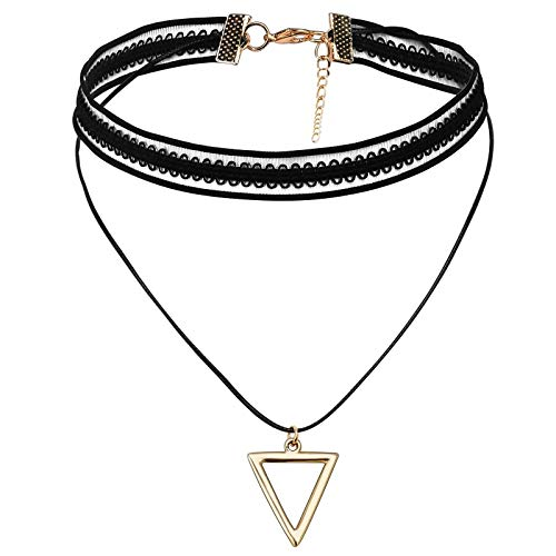 Daesar Women Necklace Black Gold, Stainless Steel Necklaces Women Lace Hollow Triangle Pendant Necklace Black Gold