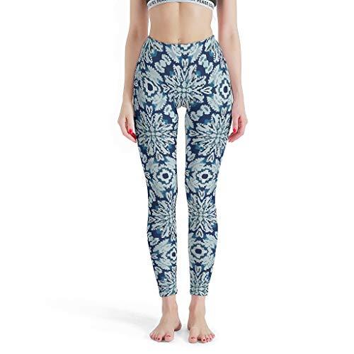 Charzee Damen Yoga Pants Hose Yoga Basketball Capri Elastische Kompressionswirkung Boho Indigo Tie Dye Blumen Druck Sporthose Push up White l