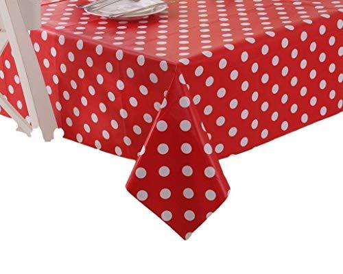 Vinylla Mantel para mesa (PVC, fácil limpieza), diseño de lunares, color rojo - 140x140cm