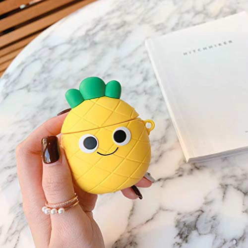 SevenPanda Airpods Case, 3D Cute Cartoon Airpods Case Soft Silicone, Rechargeable Headphone Case Shockproof Protective Premium Silicone Case for Apple AirPods 1st / 2nd (Pineapple Bow)