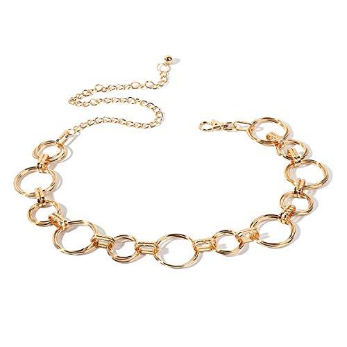 LumiSyne Modieuze kettingriem voor dames, tailleriem, goud, zilver, glanzend, metalen ring, instelbare lengte, heupriem, jurk, riem, lichaamsketting voor feest, bruiloft, alledaagse kleding, goud, Eén maat
