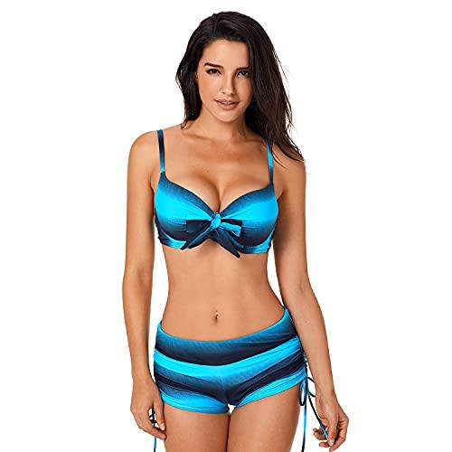 Jywmsc Costume da Bagno Donna Due Pezzi Tankini Pantaloncini Strisce Bikini per Mare Piscina S-XXL