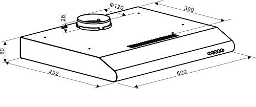 Cookology VISOR600SS - Campana extractora extraplana de acero inoxidable, 60 cm: Amazon.es: Grandes electrodomésticos
