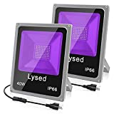 Lysed 2 Pack 40W LED Black Light, Blacklight Flood Light with Plug, IP66, Black Lights for Glow Party, Glow in The Dark, Fluorescent Poster, Body Paint, Halloween Decorations, Curing