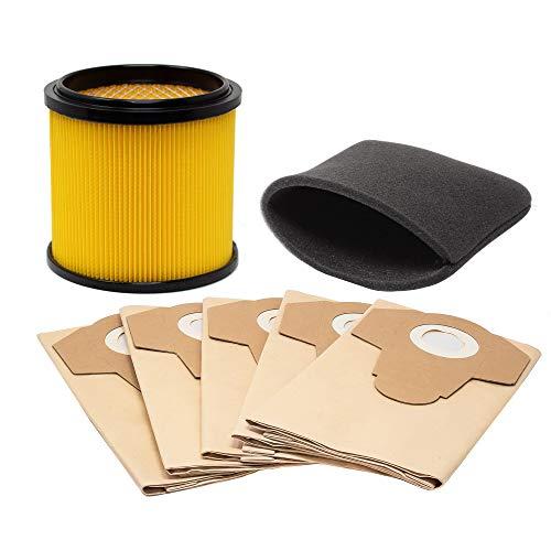 Filter Set mit Schaumstofffilter Trockenenfilter und Staubsaugerbeutel Filtertüten passend für AquaVac Nass und Trockensauger Staubsauger Sauger NTP 30 Jardin