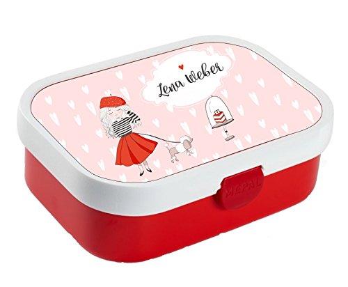 wolga-kreativ Brotdose Lunchbox Bento Box Kinder Paris Hund mit Namen Rosti Mepal Obsteinsatz für Mädchen Jungen personalisiert Brotbüchse Brotdosen Kindergarten Schule Schultüte füllen