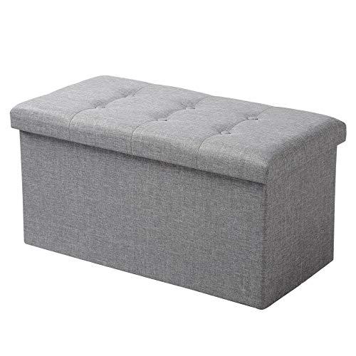 WOLTU Sitzhocker mit Stauraum Sitzbank Faltbar Truhen Aufbewahrungsbox, Deckel Abnehmbar, Gepolsterte Sitzfläche aus Leinen, 76x37,5x38 cm, Hellgrau, SH10hgr-1