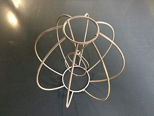 Aufsteck Schirmgestell Lampe Leuchten Retro Vintage weiß Leuchtenschirm Lampenschirm Drahtgestell Kronleuchter (18cm)