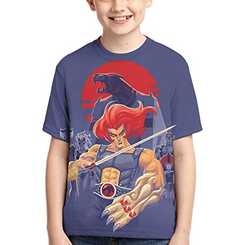 LJSJISDMWQS Thundercats - Camiseta de manga corta para niños, cuello redondo, plegable, cuello redondo, camisetas vintage