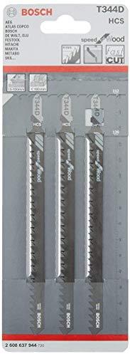 Bosch Professional Stichsägeblatt T 334 D (3 Stück, für dickes Bauholz und Weichholz, Zubehör für Stichsägen)