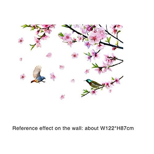 XCWQ Women'S Armband Perzik Bloesem Boom Tak Muurstickers Diy Bloemen Vogels Voor Woonkamer Bruiloft Decoratie