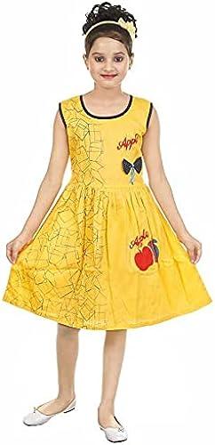 Kid Girls 5 6 Years Readymade Yellow Cotton Frock Casual Dress Sleeveless Midi Latest New Design Beautiful Kids 5 6 Years
