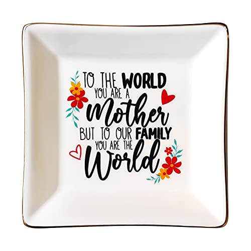 XJF Gifts for Mom from Daughter,Trinket Tray,Ceramic Jewelry Holder Ring Dish,Mothers Day Birthday Gifts for Mom from Daughter Son,To The World You Are A Mother But To Our Family You Are The World