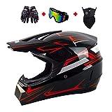 Cascos de Motocross de Moto Set con Gafas/Guantes/Máscara, Niños Cascos de Cross Deportes y Aire Libre Downhill Enduro Off-Road Cascos de Motos Racing ATV MTB BMX Casco Rojo,S(52~53cm)