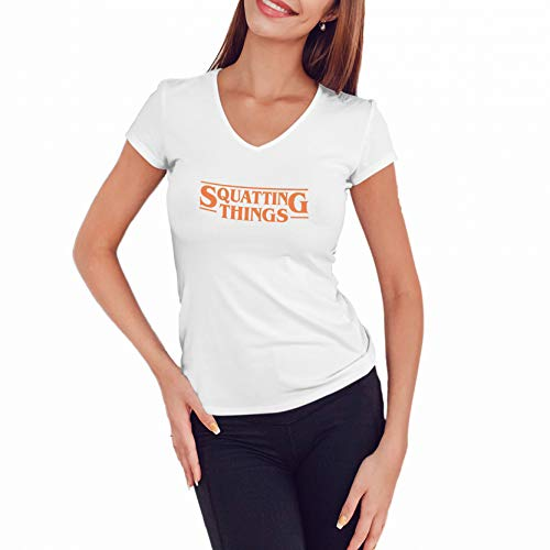 WGC Squatting Things Netflix Stranger Parody Camicia da Donna con Scollo a V di Alta qualità