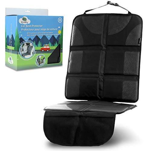 Leo&Ella Car Seat Protector with Thick Padding & Rear Facing Ipad Holder - Premium XL Size Auto Cover, Waterproof 600D Fabric, PVC Leather with 2 Large Front Pockets - Best for Baby, Child or Dog