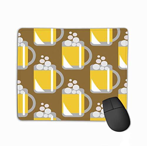 Muispad, Uniek bedrukte muismat ontwerp naadloos patroon Closeup bier bril bruin achtergrond serie eten drinken patronen
