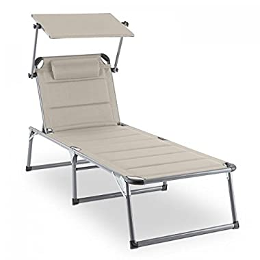 Blumfeldt Amalfi Outdoor Portable Folding Lounge Chair 5 Reclining Positions Sunshade Ergonomic Design Adjustable Pillow Resistant Polyester Cover Beige