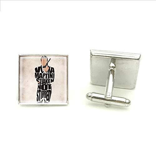 James Bond Manschettenknöpfe 007 Symbol Silber Quadratische Manschettenknöpfe für Herren Marke Manschette Knopf Handwerk Schmuck Glas