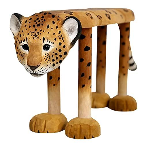 Leopardo creativo en forma de dibujo de madera, banco de madera animal lindo, tallado de mano sólida, superficie grande, resistente a la caja fuerte, para dormitorio, chaies de zapatos de entrada