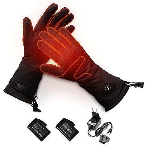 J JINPEI Guantes Calefactables Esqui con Batería Recargable, Guantes de Esquí con Calefacción 3 Niveles de Ajuste de Controlador de Temperatura para Hombre y Mujere Negro Tamaño S-XXL (Type 1, XL)