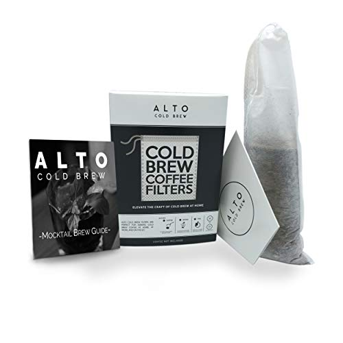 Alto Cold Brew No Mess Disposable Cold Brew Coffee Filters - 35 PACK - With Mocktail Brew Guide - Cleaner, Brighter Cold Brew, Without the Cleanup - (2 Quart Pitcher Size)