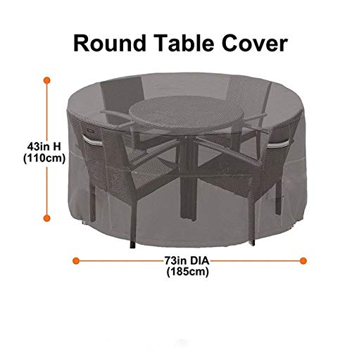 XiaoOu Garden Furniture Covers Garden Patio Furniture Cover Waterproof Round Outdoor Rattan Chairs Table Cover,Black A
