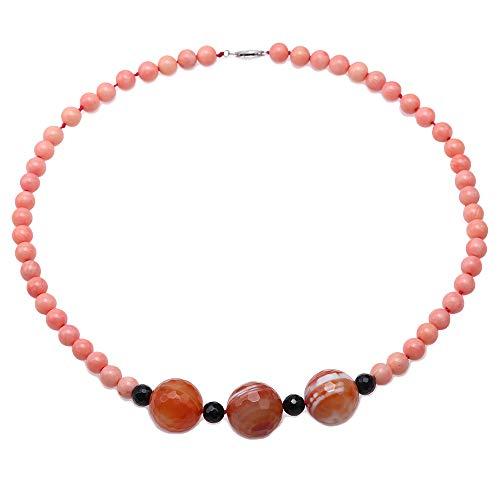JYX Kette Collier korallenkette Schöne 8,5 mm Runde Rosa Korallen Halskette mit Achat Perlen für Frauen 50cm