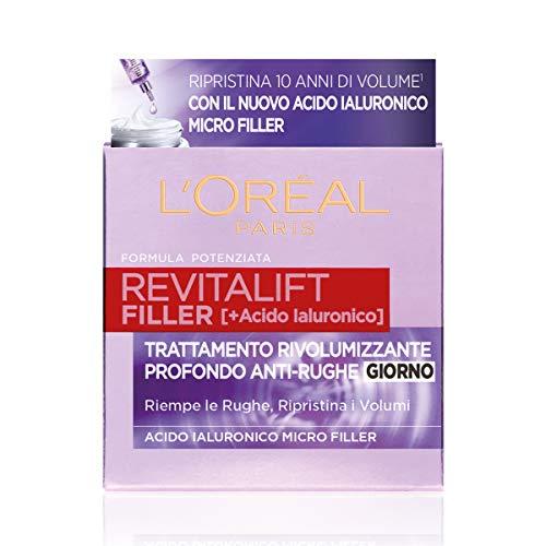 L Oréal Paris Crema Viso Giorno Revitalift Filler Azione Antirughe Rivolumizzante con Acido Ialuronico Concentrato, 50ml