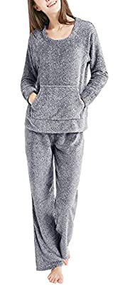 Wake & Wear by Ink+Ivy Womens Raglan Top With Kangaroo Pockets and Lounge Pants Pajama Set (See More Colors and Sizes)