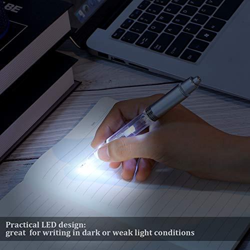 16 Pieces Lighted Tip Pen LED Penlight Light-up Pen Flashlight Writing Ballpoint Pens Metal 2 in 1 LED Light-up Pen for Night Writing (White Light) Photo #4