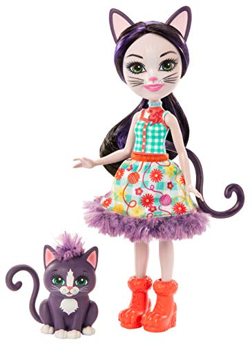 Enchantimals Ciesta Cat Doll & Climber Animal Figure, 6-inch Small Doll with Removable Skirt, Shoes, and Headpiece, Great Gift for 3 to 8 Year Olds [Amazon Exclusive], Multi