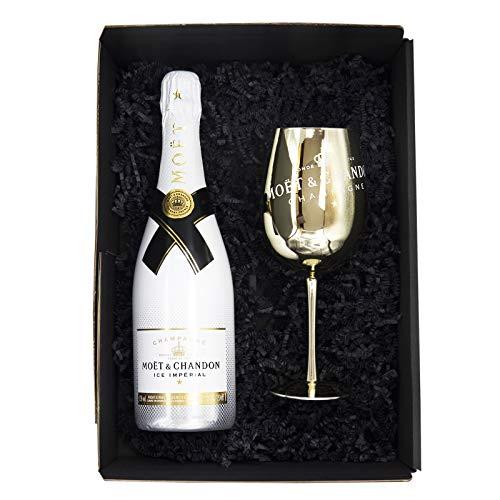 Reichelts I Feinste Getränke & Geschenke I Moët & Chandon Ice Impérial 0,75l + Moet Champagnerglas Gold in Präsentbox