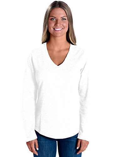 LAT Apparel 100% Cotton Ladies French Terry V-Neck [Large] White Long Sleeve Tee