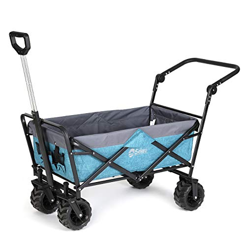 Sekey Foldable Handcart with Telescopic Push Bar, Folding Wagon Handcart Outdoor Folding Trolley Transport Trolley Beach Wagon Trolley with Brakes Gardencart suitable for all terrains, Light Blue