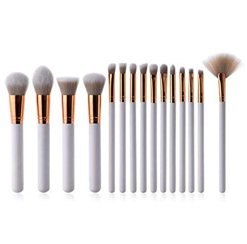 Schminkpinsel, Scpink 7/10/15 Stück, professionelles Kosmetikpinsel-Set, weiß, für Damen 15 pezzi...