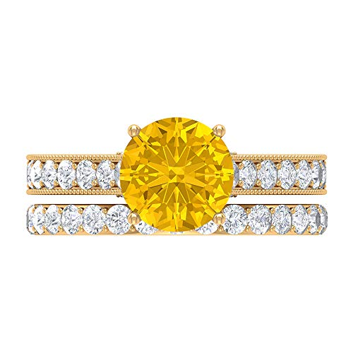 Rosec Jewels 14 quilates oro amarillo Round Brilliant Moissanite