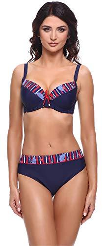 Merry Style Damen Bikini Set P63581 (Marine Blau/Rot, Cup 80 G/Unterteil 40)