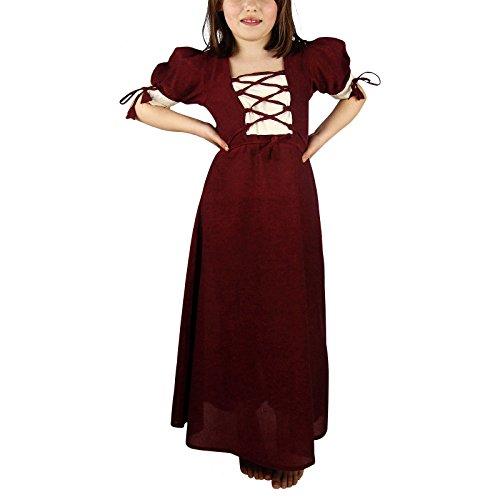 Elbenwald Mittelalter Sommer Kleid Kinder Baumwolle rot Natur - 140/146